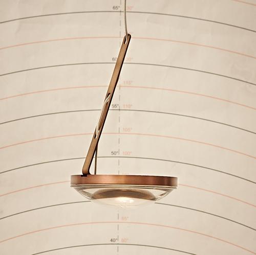 Decken-Pendel-Leuchte Farbe: Bronze mit großer Glaslinse